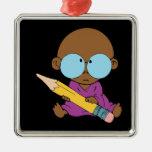 Nerd boy big glasses & pencil ornament
