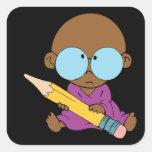 Nerd boy big glasses & pencil sticker