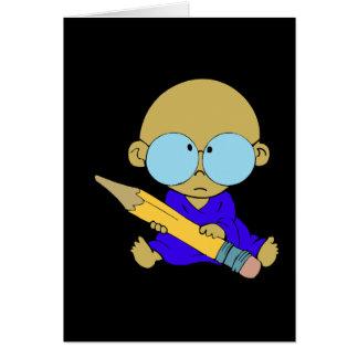 Nerd boy big pencil card