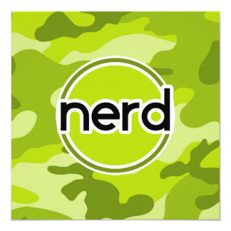 Nerd; bright green camo, camouflage 5.25x5.25 square paper invitation card