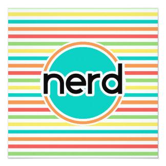 Nerd, Bright Rainbow Stripes 5.25x5.25 Square Paper Invitation Card