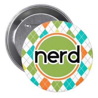 Nerd; Colorful Argyle Pattern Button
