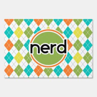 Nerd; Colorful Argyle Pattern Yard Sign