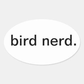 nerd. del pájaro pegatina óval