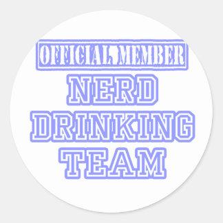 Nerd Drinking Team Classic Round Sticker