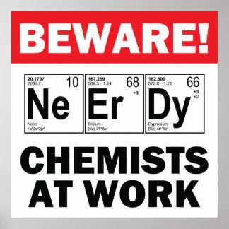 nerd elements-chemist at work sign poster