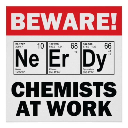 nerd elements-chemist at work sign posters