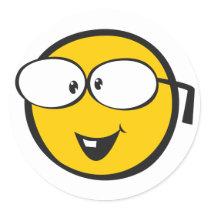 Nerd Emoji Classic Round Sticker