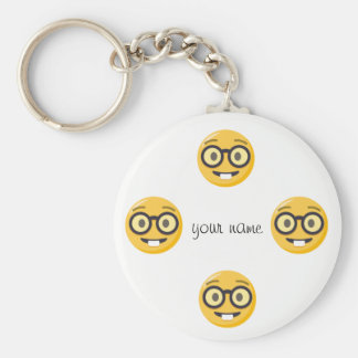 "Nerd Emoji Face  and '' Your Name Here "" Keychain"