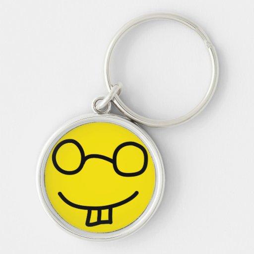 Nerd Emoticon Silver-Colored Round Keychain