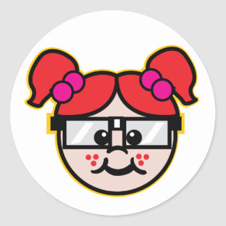 Nerd Girl Classic Round Sticker