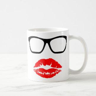 Nerd Glasses and Lipstick Kiss Classic White Coffee Mug