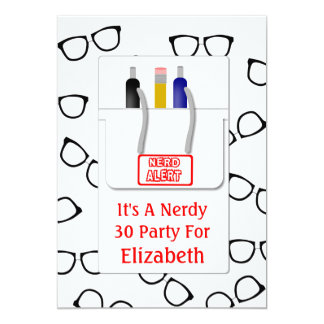 Nerd Glasses Pocket Protector Nerd Theme Party Card