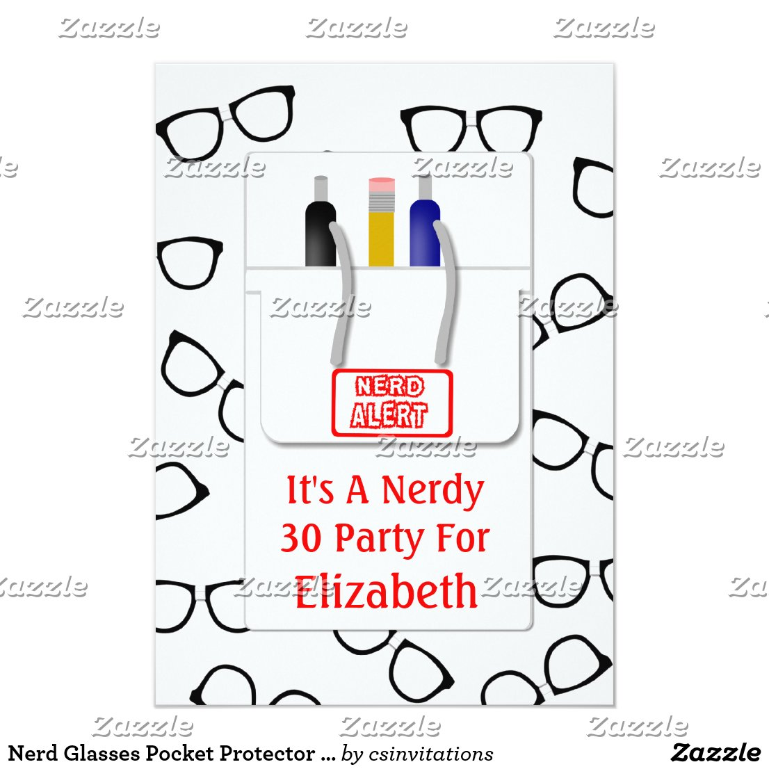 Nerd Glasses Pocket Protector Nerd Theme Party