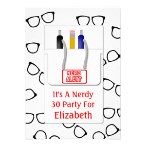 Nerd Glasses Pocket Protector Nerd Theme Party Personalized Invites