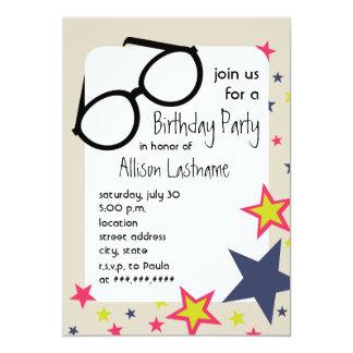Nerd Glasses & Stars Birthday Party Invitation