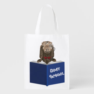 Nerd Goat with Monocle Back to School Reusable Grocery Bag