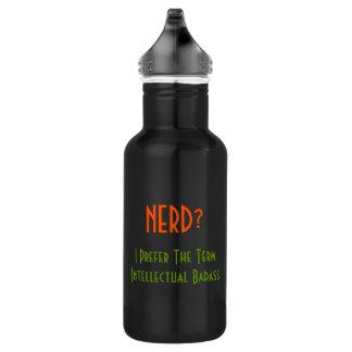 Nerd?.. Intellectual Badass | Funny Water Bottle 18oz Water Bottle