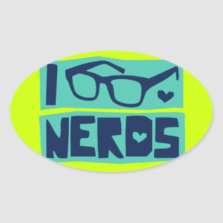 Nerd Love Oval Sticker