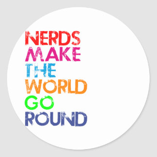 Nerd meke the world go round classic round sticker