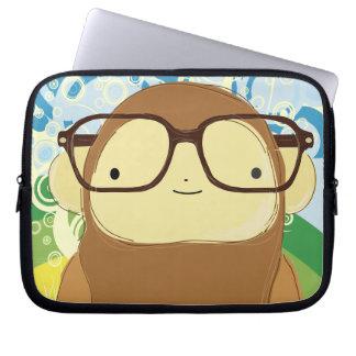 nerd monkey big glasses on rainbow laptop computer sleeves