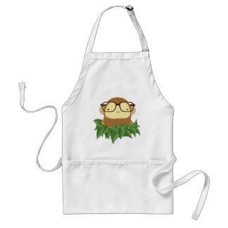 nerd monkey on leaves adult apron