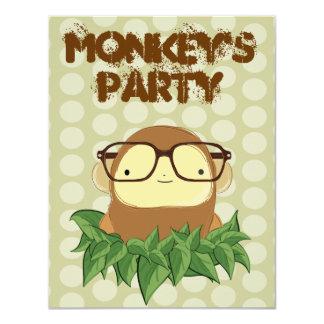 nerd monkey on leaves card
