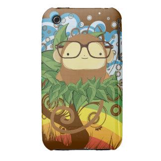 nerd monkey on leaves iPhone 3 Case-Mate case