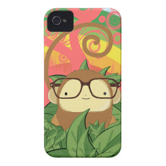 nerd monkey on leaves iPhone 4 Case-Mate case
