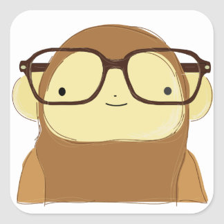 nerd monkey on leaves square sticker