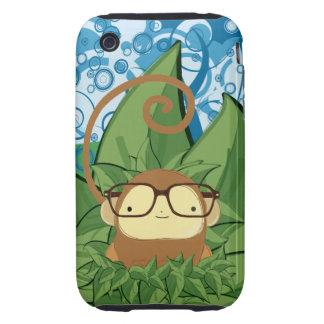 nerd monkey on leaves tough iPhone 3 case