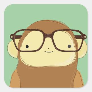 nerd monkey square sticker