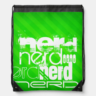 Nerd; Neon Green Stripes Drawstring Backpack