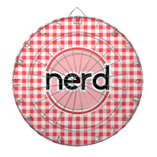 Nerd; Red and White Gingham Dartboard With Darts