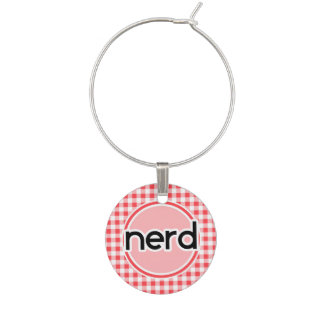 Nerd; Red and White Gingham Wine Charms