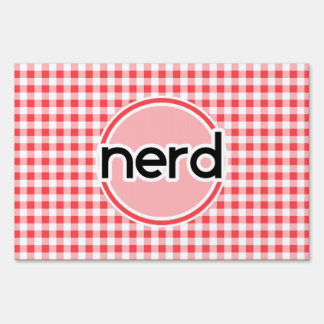 Nerd; Red and White Gingham Lawn Signs