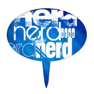 Nerd; Royal Blue Stripes Cake Toppers