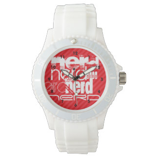Nerd; Scarlet Red Stripes Wrist Watch