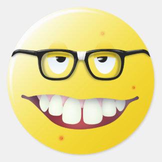 Nerd Smiley Face Classic Round Sticker