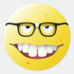 Nerd Smiley Face Round Stickers