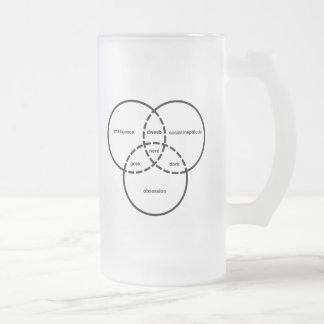 nerd venn diagram geek dweeb dork 16 oz frosted glass beer mug