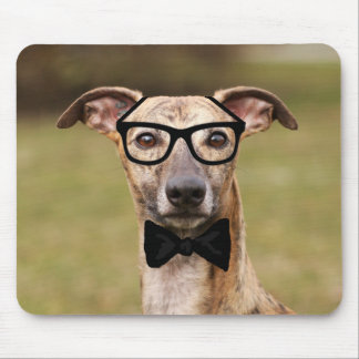 Nerd Whippet with Glasses and Bow Tie Mouse Pad