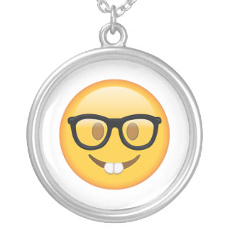 Nerd with Glasses - Emoji Silver Plated Necklace