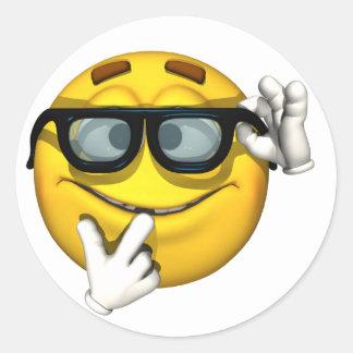 Nerd Yellow Smiley Face Classic Round Sticker