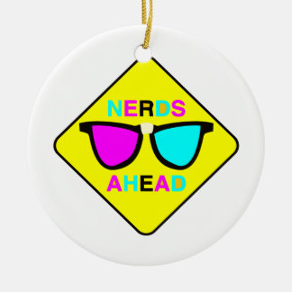 nerd zone nerds ahead CMYK geek Ornament