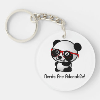 Nerds Are Adorable Cute Panda With Nerd Glasses Single-Sided Round Acrylic Keychain