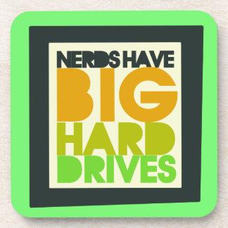 Nerds have big hard drives beverage coaster