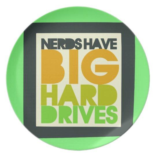 Nerds have big hard drives dinner plate
