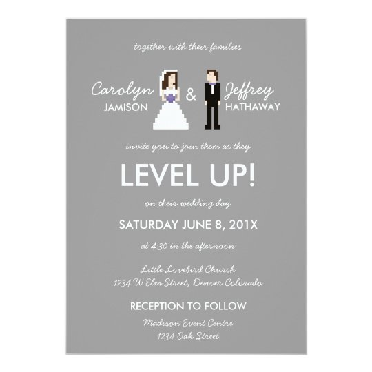 Nerdy 8 Bit Bride Groom Wedding Invitation Zazzle Com
