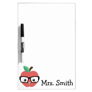 Nerdy Apple with Glasses Customizable Marker Board